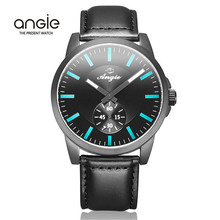 Angie Brand Watch Men Fashion Quartz Watch Women Luxury Business Genuine Wristwatch Leather Strap