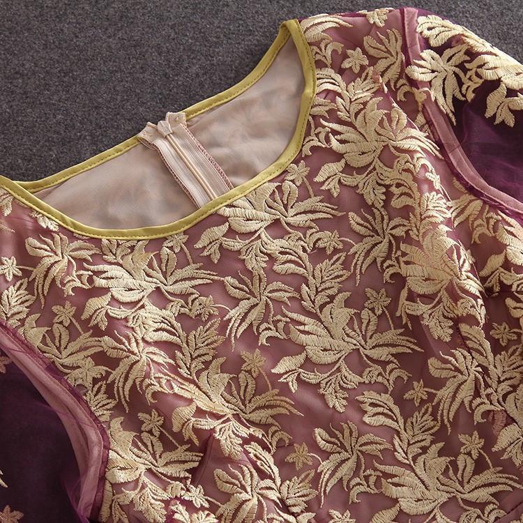 HIGH QUALITY S-XL New Fashion 2017 Women's Long Sleeve Gauze Gold Thread Luxury Embroidery Dress Autumn Dress 6