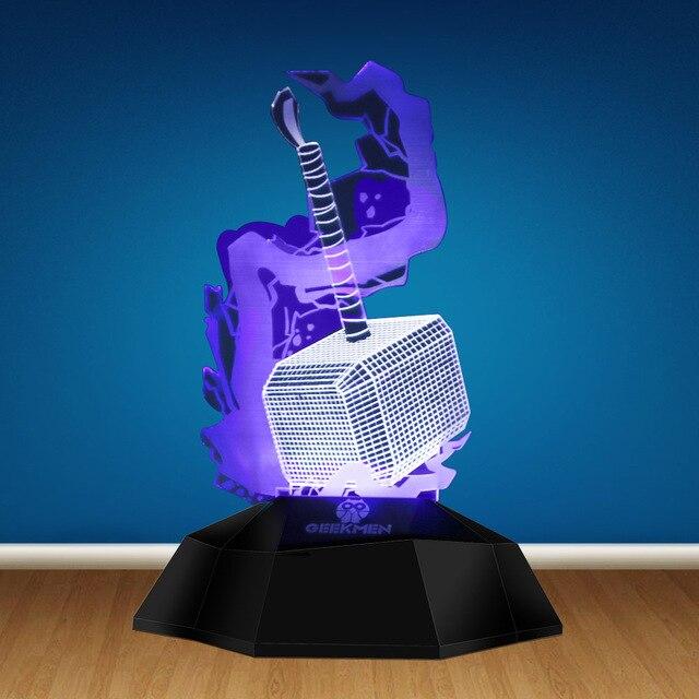 The Avenger Thor Hammer 3D Optical illusion Lamp Decorative Lighting LED Night Light Novelty Table Lamp Atmosphere Light