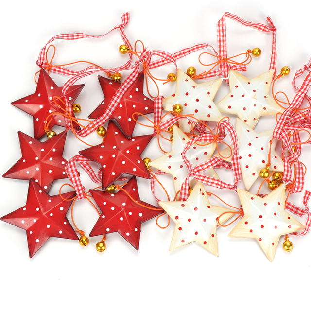 christmas decorations 12pcs vintage metal star with small bell christmas tree decoration 2018 merry christmas for