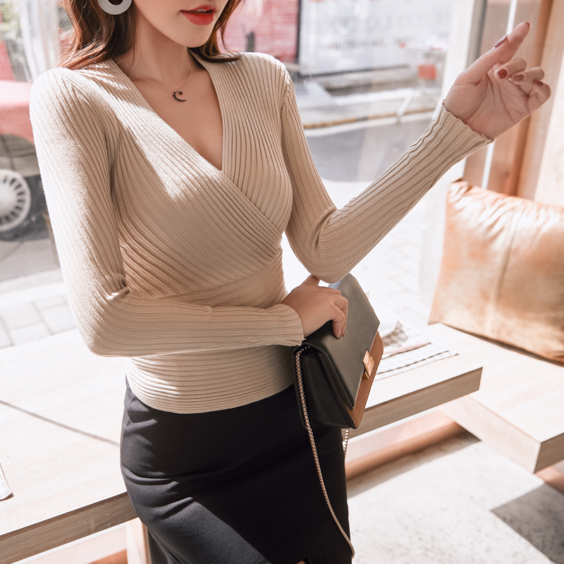 Sexy Winter Knitted Sweater V Neck Sweater Female 2019 Women Sweaters And Pullovers Autumn Long Sleeve Sweater Jumper