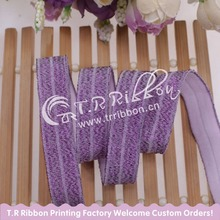 New color! 5/8 inch purple glitter thread foes folding over elastic #90126 for women hair accessries, 100 yards/lot