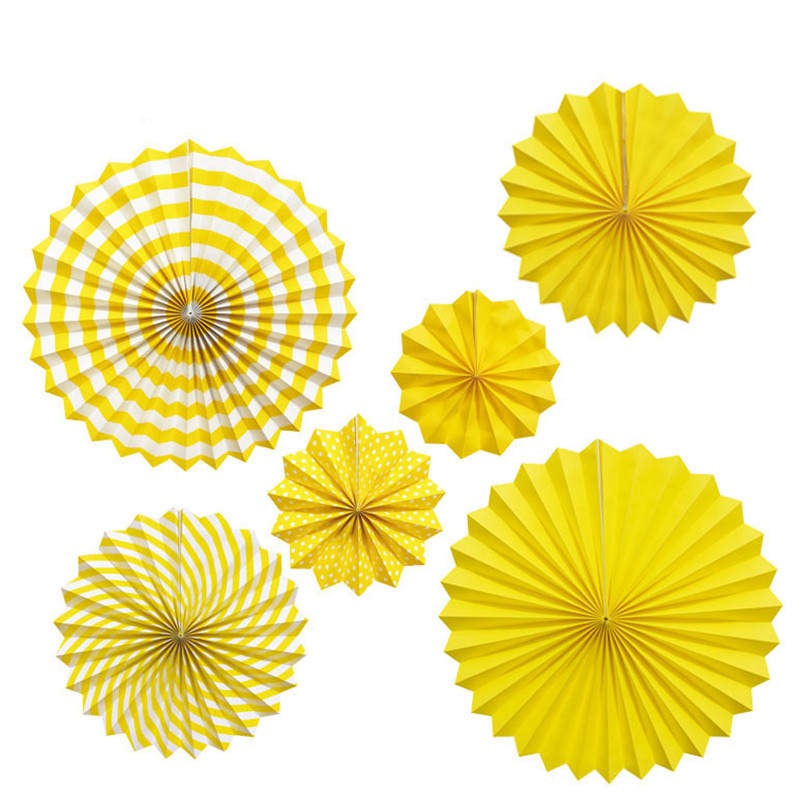 Us 11 9 6pcs Party Backdrops Yellow Print Paper Fan Flower For Wedding Easter Birthday Wall Decorations Kid Hanging Supplies In