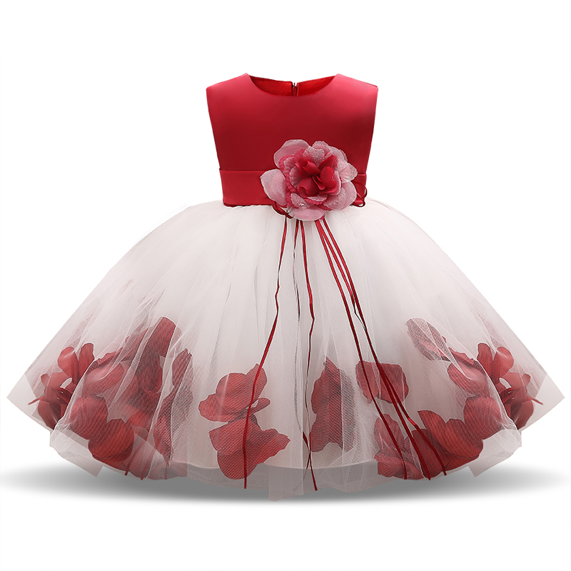 Newborn Baby Girl 1 Year Birthday Dress Petal Tulle Tutu Toddler Girl Christening Gown Infant Party Dresses For Girls Clothes 2T