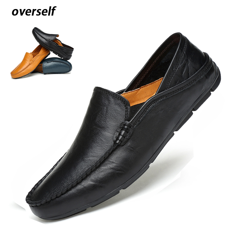 Moccasins Mens Driving Shoes Men Loafers 2018 Genuine Leather Casual Shoes Cow Leather lightweight shoes Plus Big Size to 46 47 dekabr new 2017 men cow suede loafers spring autumn genuine leather driving moccasins slip on men casual shoes big size 38 46