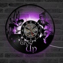Peter Pan & Wendy Tinkerbell Island Vinyl LP Record Clock Cartoon Theme CD Hanging Clock Vintage Kid Room Decor LED Wall Clock