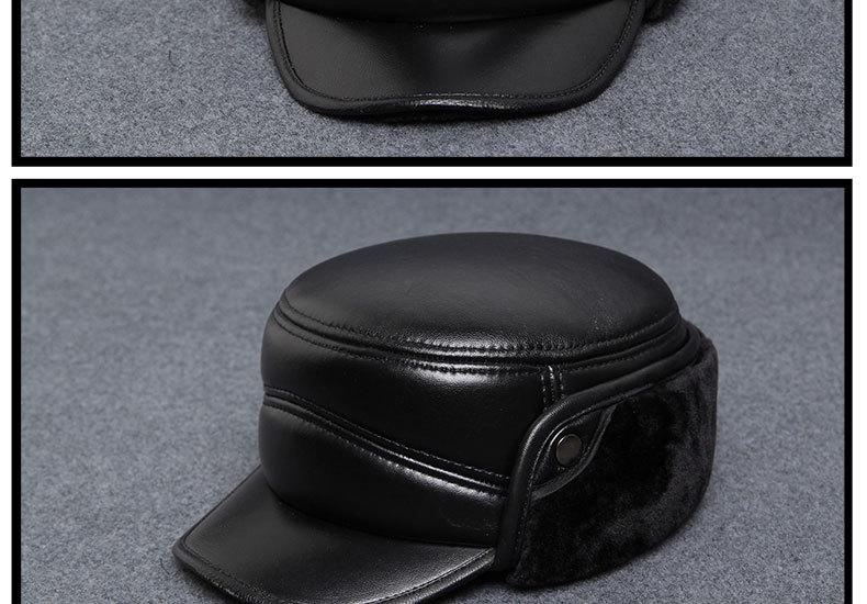 Leather Hat - old MENS HAT Winter Ear cap - Leisure flatcap - warm - cap wholesale