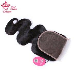 Image 4 - Queen productos para el cabello con cierre de encaje, pieza libre, cabello virgen brasileño, cuerpo ondulado, 100%, cabello humano, Color Natural, cierre de gran tamaño