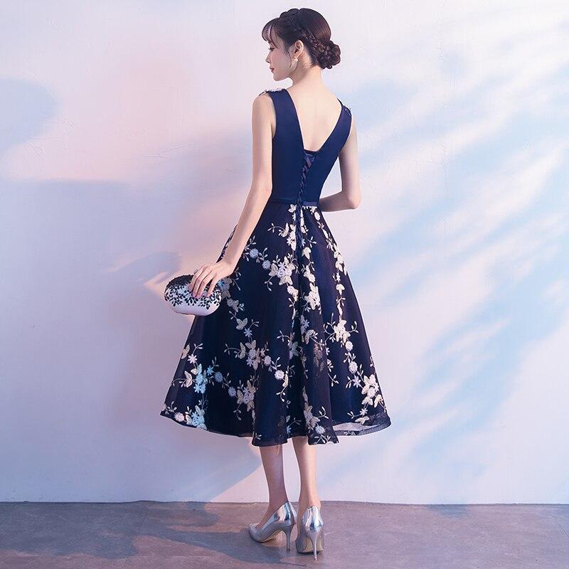 Chá de Comprimento Vestido de Noite Bordado Festa Floral Vestidos Bow Sashes Vestido De Festa Formal Prom Vestido 2018 Robe De sarau - 2