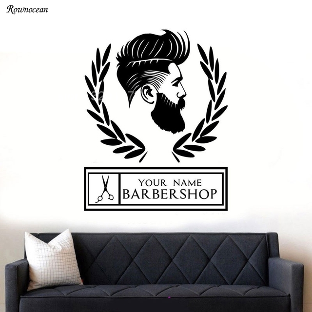 Personalised Store Name For Barber Shop Hipster Man