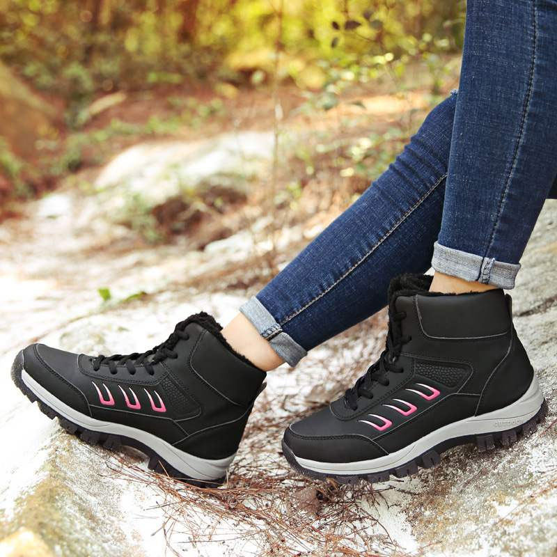 2019 Women Winter Ankle Boots Warm Women Waterproof Snow Boots Platform Wedge Waterproof Flock Boots Casual Sneakers Shoes in Ankle Boots from Shoes