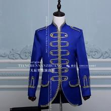 (Jacke + pants) blau schwarz weiß anzug männlichen dancer singer kleid leistung anzeigen nightclub Blazer Freien Slim tragen bräutigam prom