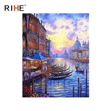 RIHE Venice Diy Painting By Numbers Abstract Boat Oil On Canvas River Cuadros Decoracion Acrylic Wall Picture For Room