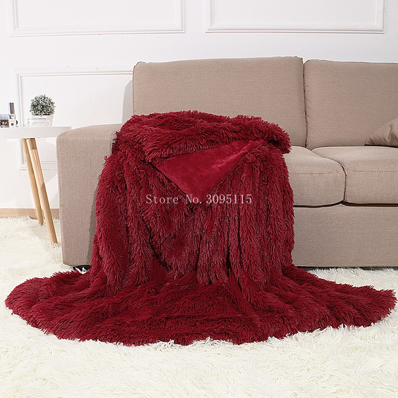 Astonishing Us 27 99 30 Off Burgundy Shaggy Faux Fur Throw Blanket For Couch Cuddly Bed Plush Blanket For Children Kids Bedroom Decoration 60 Bralicious Painted Fabric Chair Ideas Braliciousco
