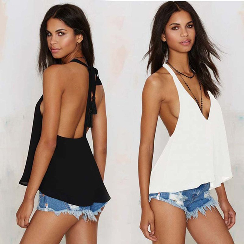 Bigsweety Sexy Camis Female Tops V-neck Sexy Backless Vest Summer Tank Tops Women Chiffon Tops Sleeveless Shirt