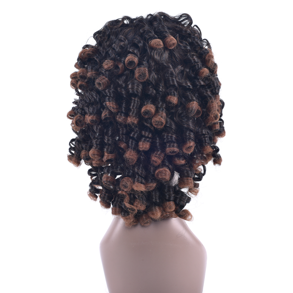 Soowee 4 Colors Synthetic Hair High Temperature Fiber Short Brown Cosplay Wigs Afro Curly Wigs for Black Women & Men