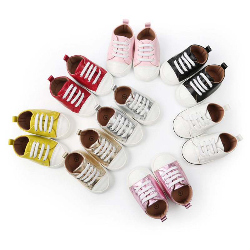 2018 Hot Selling Baby Shoes Casual PU Leather Solid Color Sneakers Soft Sole Infant Toddler First Walkers H1