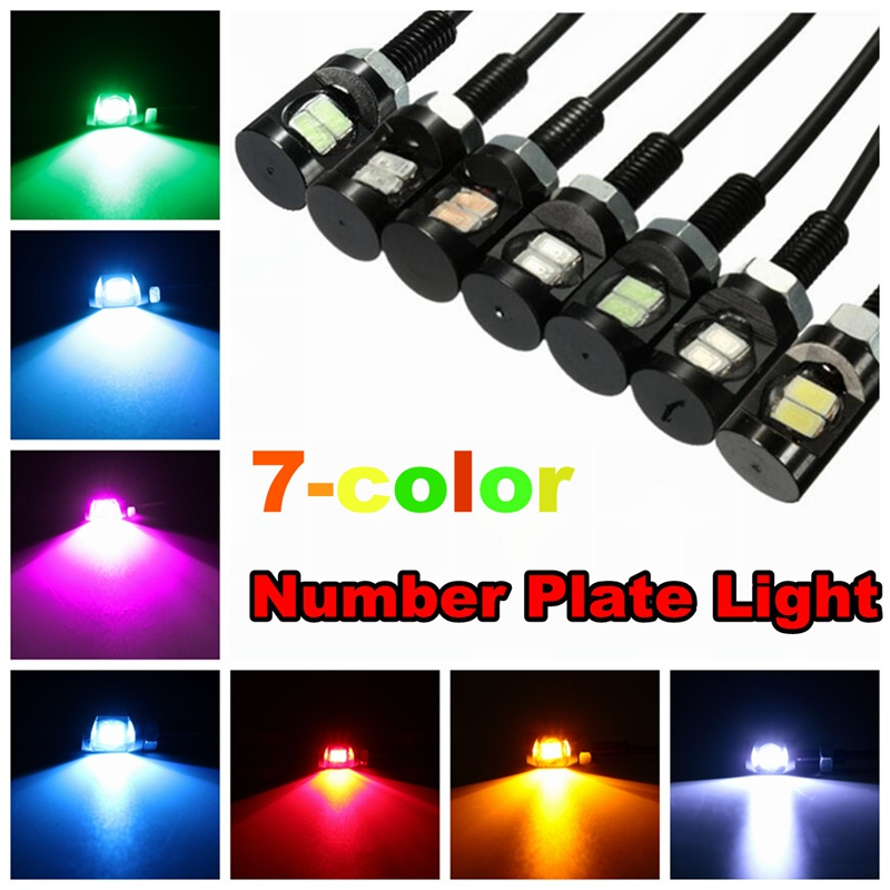 1Pcs 12V Universal Car Auto Motorcycle Car 2 LED Tail Number License Plate Light Screw Bolt Eagle Eye Lights Lamp 2 pairs gel silicone shoe pad insoles women s high heel cushion protect comfy feet palm care pads accessories