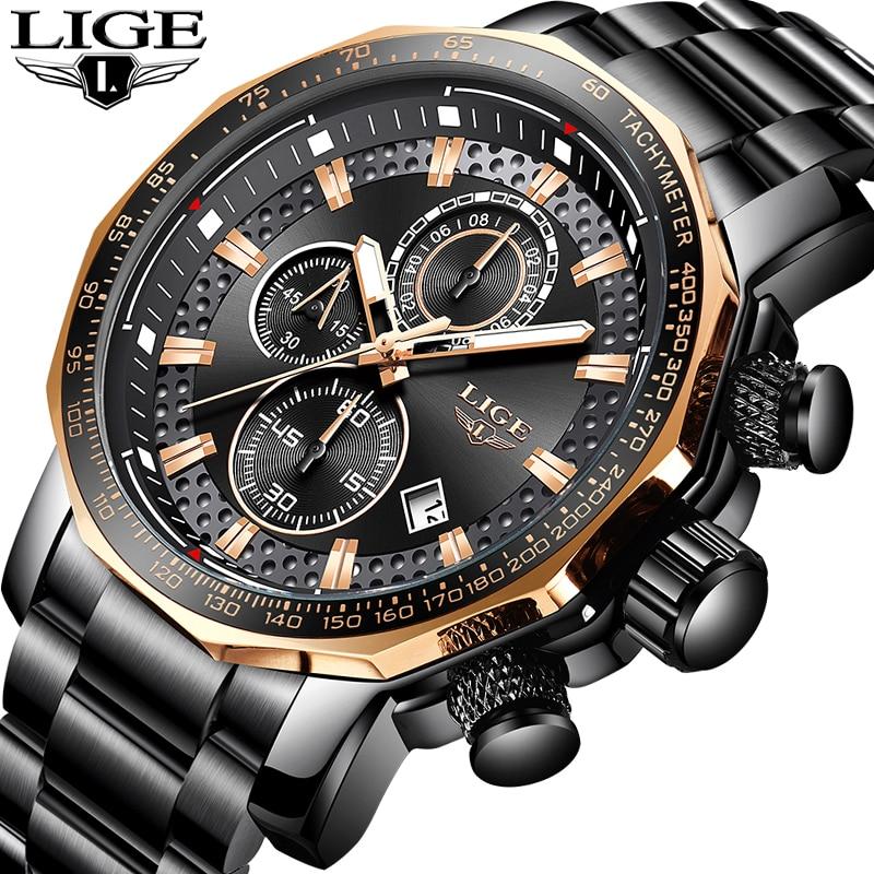 LIGE Homens De Luxo Assistir À Prova D' Água Chronograph Analógico Data Relógio Para Homens de Aço Inoxidável Relógios de Quartzo Relógio de Pulso Relógio + Caixa