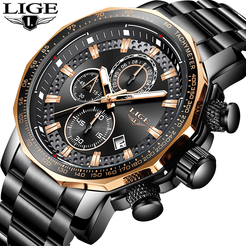 LIGE Luxury Men Watch Waterproof Chronograph Analogue Date Wrist Watch For Men Stainless Steel Quartz Watches Relogio Clock+Box