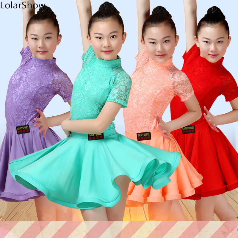 Girls Latin Dance Dress Ballroom Competition Dance Dress For Kids Practice Dance Wear