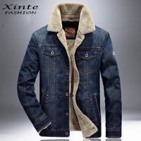 2016 New Winter Men Denim Jacket Warm Jeans Jackets Velvet Outwear Coat Garment Fashion 4XL