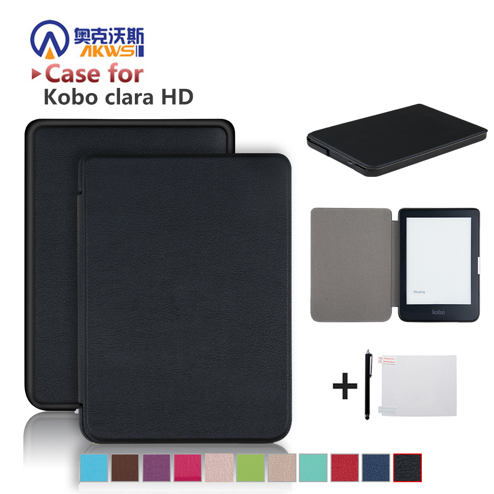 Slim Case for New Kobo Clara HD 6 Inch Ebook Smart Cover Ereader Skin Shell + Protector Film + Stylus(China)