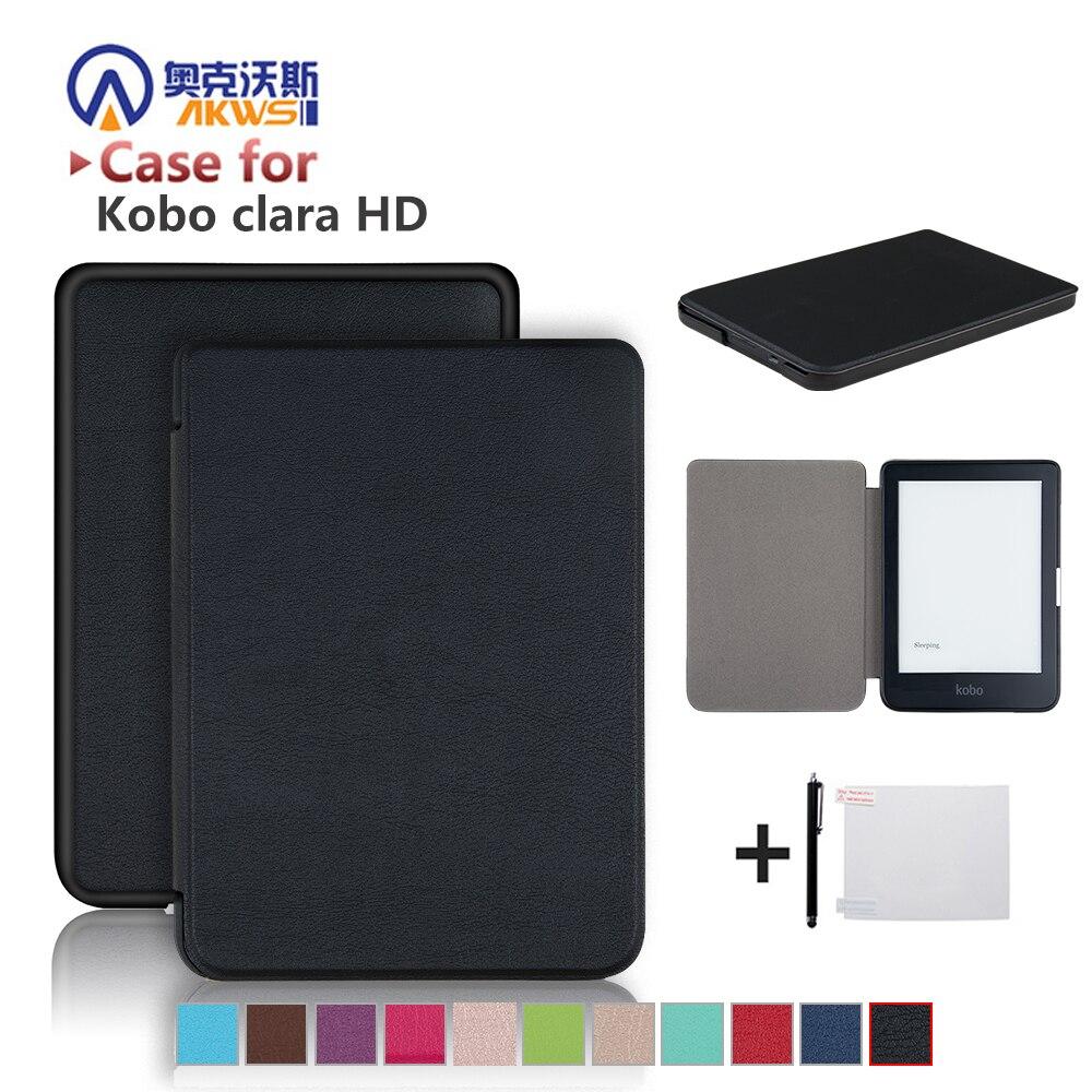 Caso de Kobo Clara HD de 6 pulgadas Ebook cubierta inteligente Ereader de la cáscara de la piel + Protector Film + Stylus