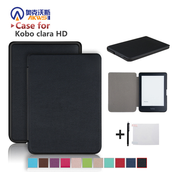 Slim etui dla nowego Kobo Clara HD 6 Cal Ebook Smart Cover Ereader powłoki skóry + folia ochronna + rysik