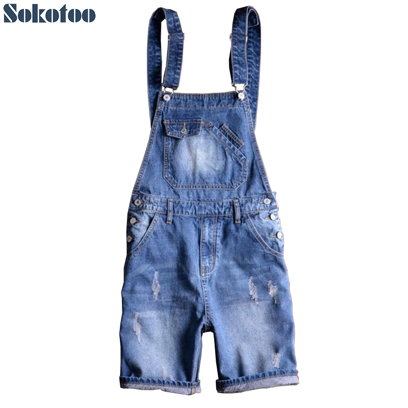 Sokotoo Men's Summer Blue Denim Bib Overalls Shorts Boy's Plus Size Knee Length Slim Jeans