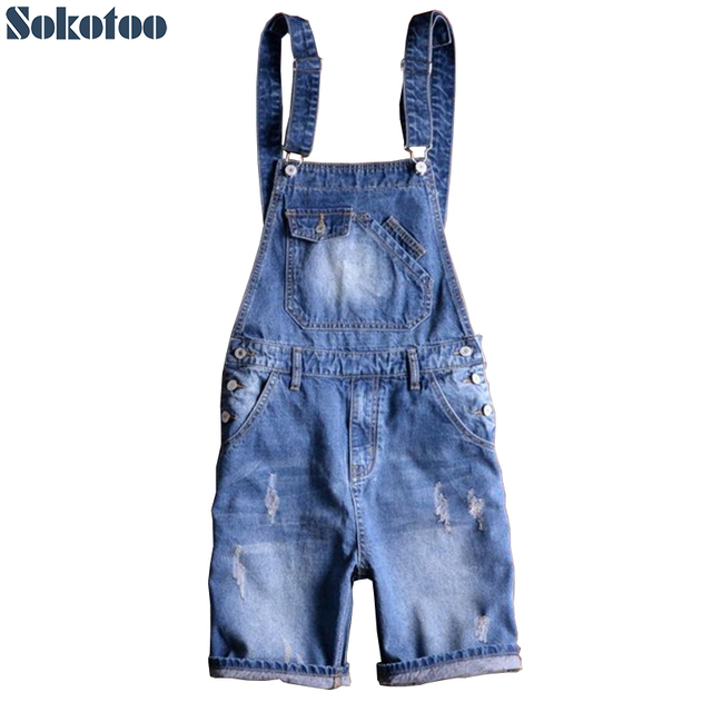 Sokotoo Men's summer blue denim bib overalls shorts Boy's plus size knee length slim jeans