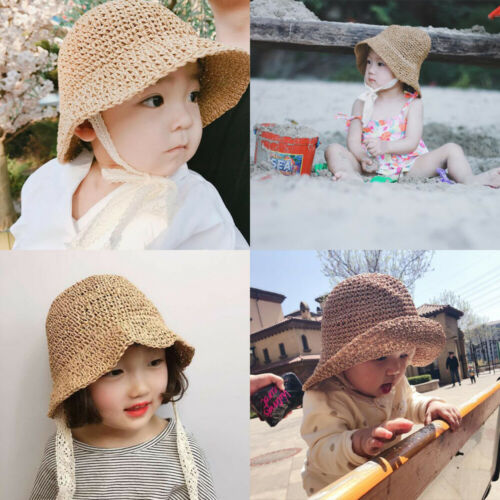 Newborn Baby Girls Kids Lace Trap Princess Summer Bucket Straw Sun Hat Cap