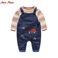 Fashion Spring Baby Set 100%Cotton Striped Long sleeve Bodysuit+ Denim Overall Infant Boys Clothes