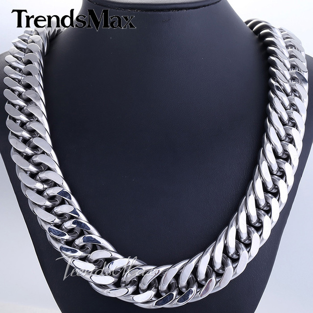 Trendsmax 18/22mm Mens Chain Heavy 316L Stainless Steel Silver(Color) Cut Double Curb Link Rombo Necklace Wholesale HN54 HN55