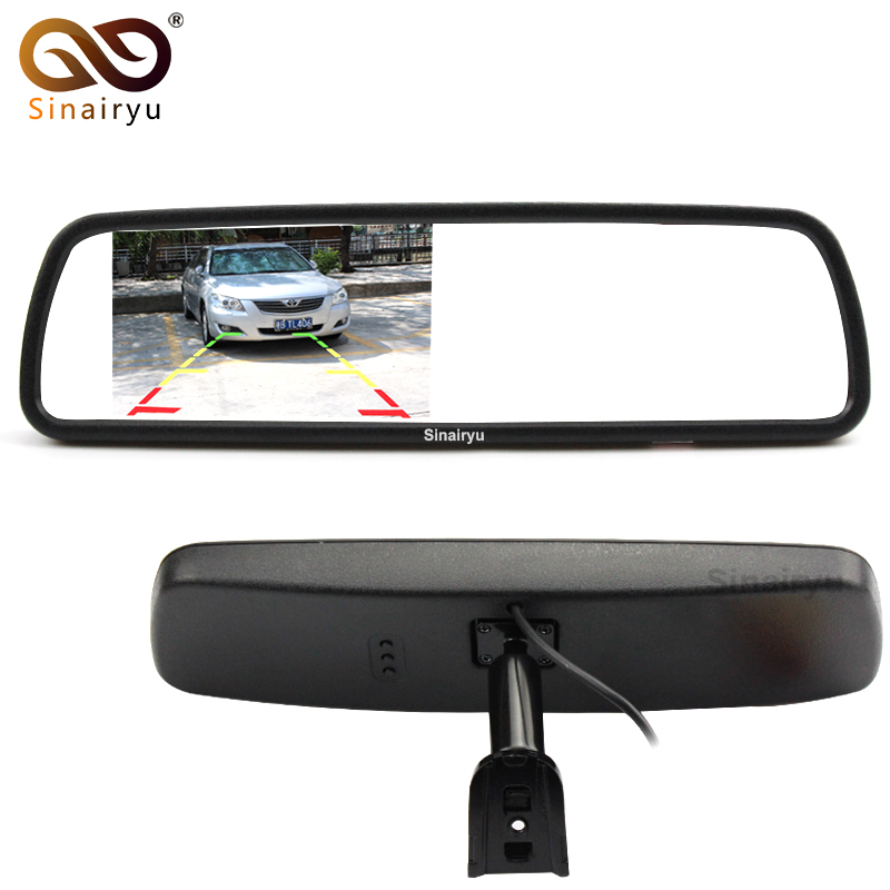 Sinairyu Original Special Bracket 4.3 TFT LCD Color Car Rearview Mirror Monitor for Car Parking Rear View Assistance System sinairyu car parking assistance system 7 mp5 rearview mirror monitor support sd usb fm radio with night vision rear view camera