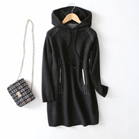 cotton wool blends dots knit women fashion hooded coat pullover one&over size wholesale retail