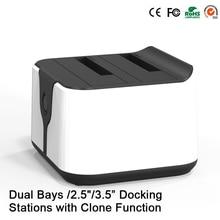 "2-Bay SATA Dual 2.5 ""/3.5"" Hdd Docking Station USB 3.0 a SATA HDD Duplicador de Alta Velocidad 5 Gbps Apoyo Duplicadora 6 TB"