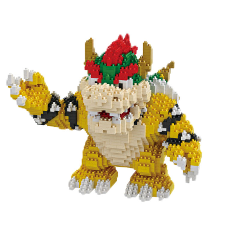 HC 16012 Super Mario Diamond Particles Doll Bricks Diamond 2300Pcs Building Blocks Compatible with Legoings Koopa Bowser Boss free shipping diamond diy enlighten block bricks compatible with lego assembles particles
