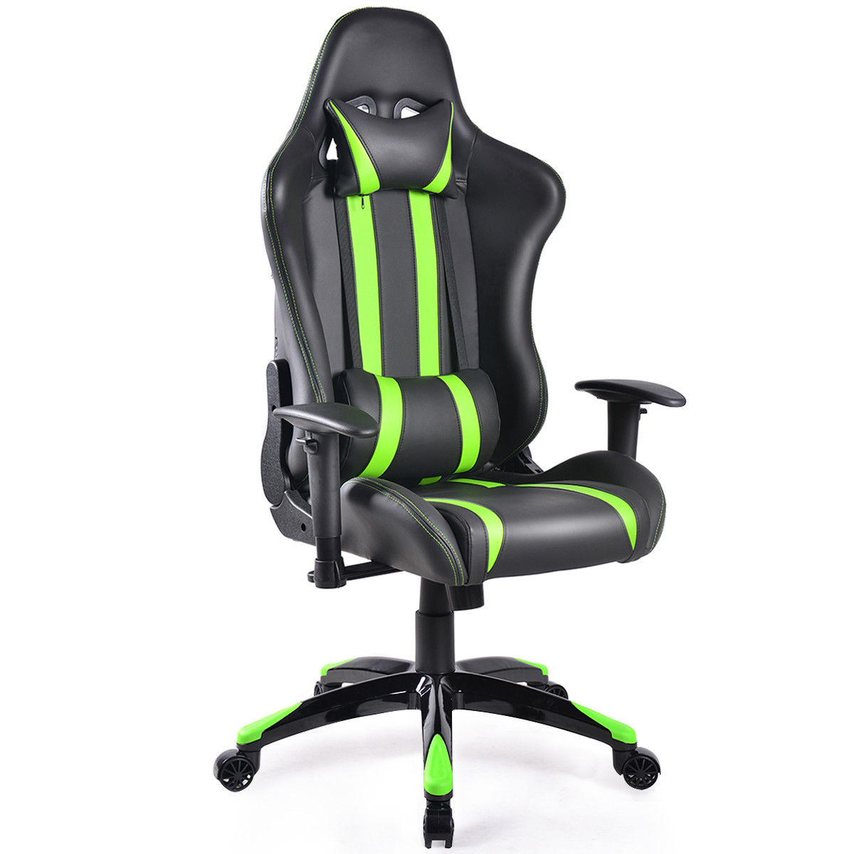 Giantex Racing High Back Reclining Gaming Chair Swivel Ergonomic Computer Desk Office Chair New Modern Furniture HW53993GN 240340 high quality back pillow office chair 3d handrail function computer household ergonomic chair 360 degree rotating seat