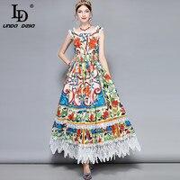 LD 린다 델라 패션 디자이너 100% 맥시 드레스 여성의 화려한 꽃 인쇄 레이스 패치 워크 휴일 파티 긴 드레