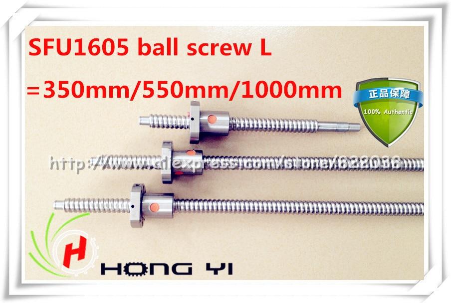 SFU1605 ball screw L=350mm/550mm/1000mm+3pcs Ballscrew ball nut for CNC and BK/BF12 standard processing 2pcs ball screw sfu1605 l3000mm 1500mm 2pcs ballscrew ball nut for cnc and bk bf12 standard processing