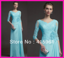 2014 Elegant Hunter Long Sleeve Beads Lace Chiffon Mother of the Bride Dresses Gowns M1747