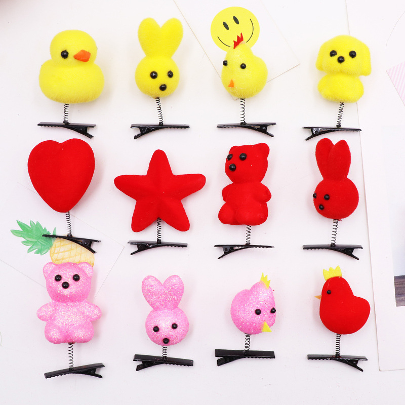5PCS/Lot  Lovely Spring Baby Girl Cute Chicken Duck Dog Hair Clip Cute Hairpin Chick Barrette Funny Hairclip