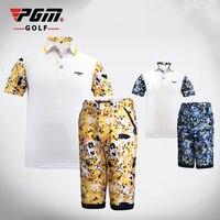 Pgm Boys Clothing Sets Summer Breathable Short Sleeved T Shirt Pants Suit Children Kids Print Baby Cloth Sets D0364