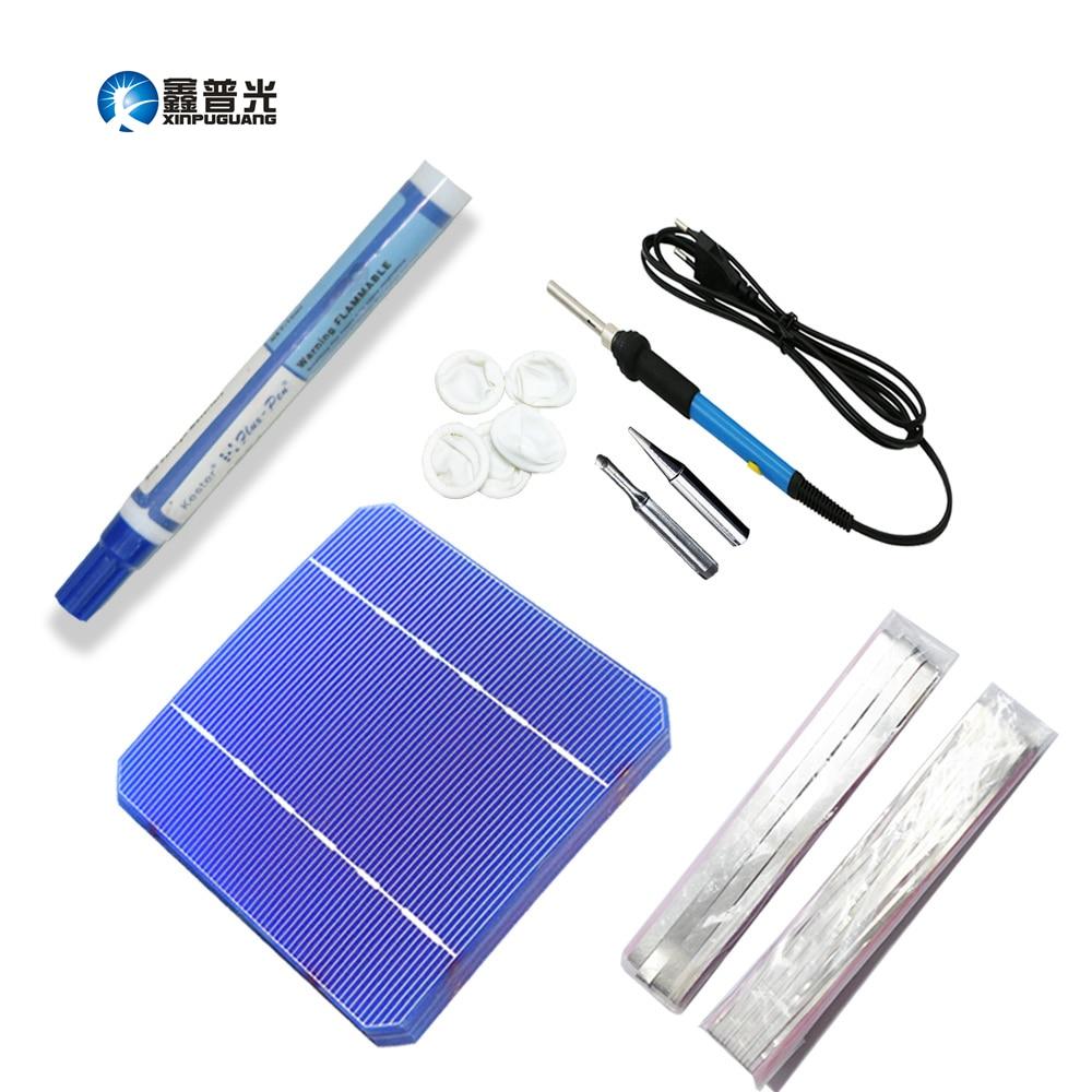 Xinpuguang 100W DIY Kit 40pcs Monocrystalline Cell Solar Panel Module Welding Kit 60w Electric Iron 2 Meters Bus Wire Tab Wire s6c2742 81 new tab cof module