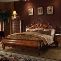 Высокое качество  европейская антикварная кровать  французская кровать  1 8 м  Королевский размер  американский стиль  натуральная кожа  p10270