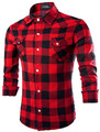 Flannel Men Plaid Shirts men 2016 New Autumn  Men Long Sleeve Shirt Xxl  Turn-down Collar Korean Shirt
