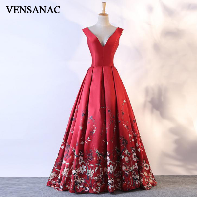 VENSANAC 2018 Floral Print V Neck A Line Long   Evening     Dresses   Elegant Party Flowers Draped Open Back Prom Gowns