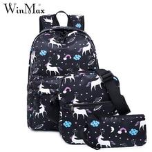 все цены на Winmax Waterproof Original Nylon School Backpack for Teenage Girls Women Backpack 3 Pieces Set Unicorn Mochila Escolar Portfolio онлайн