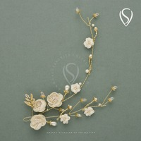 Stunning Freshwater Pearl Headband Gold Hair Vine Band Flower Head Pieces Women Hair Jewelry for Party Dance Photography